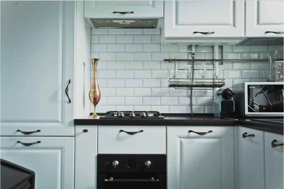 Metro tile in the Casual kitchen in white