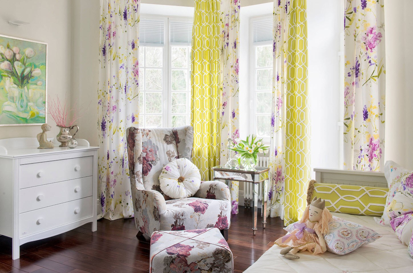 Yellow colored curtains for light and airy Classic bedroom