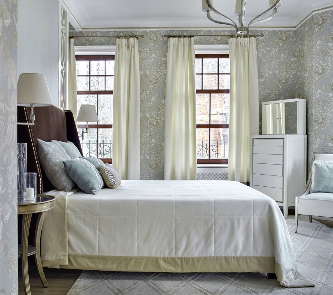 Bedroom Curtains: Full Guide on How to Decorate the Windows. Classic designed room with touch of industrial style in gray colored space