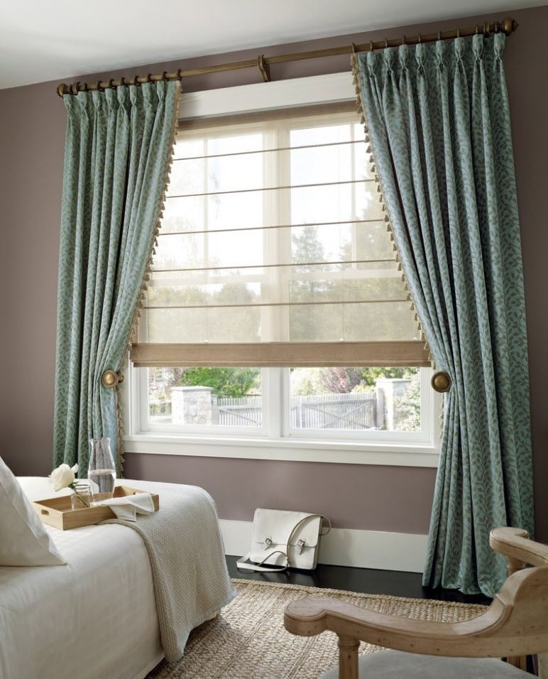 Pale green tied up curtains for modern styled bedroom with gray colored walls