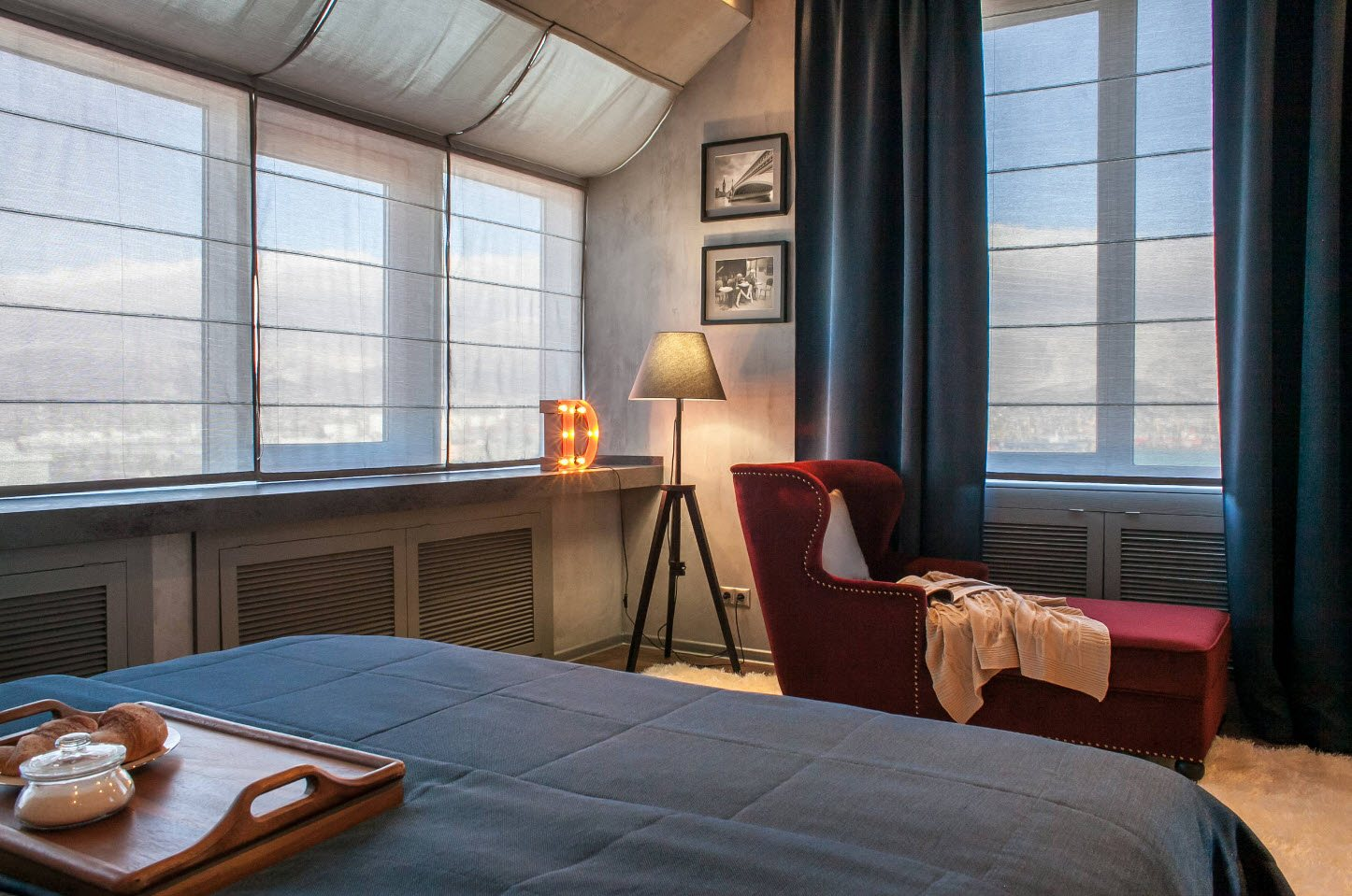 Unusual bedroom curtains in the form of sail