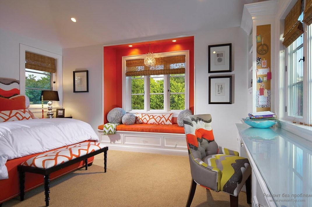 Window Design in the Bedroom for Ultimate Coziness and Comfort. Orange resting zone with the sleeper at the windowsill