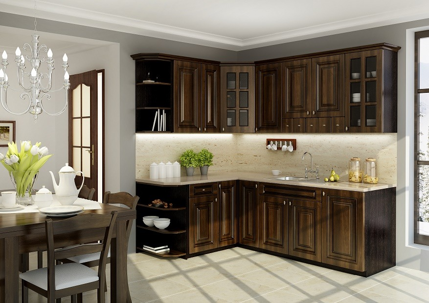 Dark oak wooden kitchen furniture set and the tiled floor