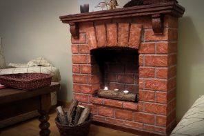 Brickwork imitating fireplace with mantelshelf