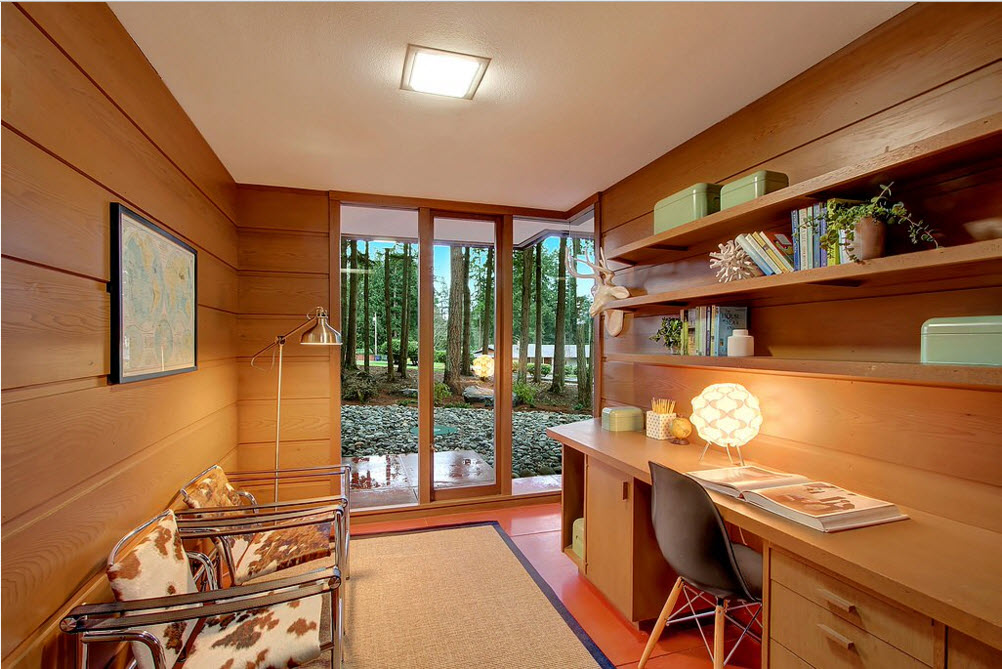 Home office with the sleeper and panoramic glass entrance