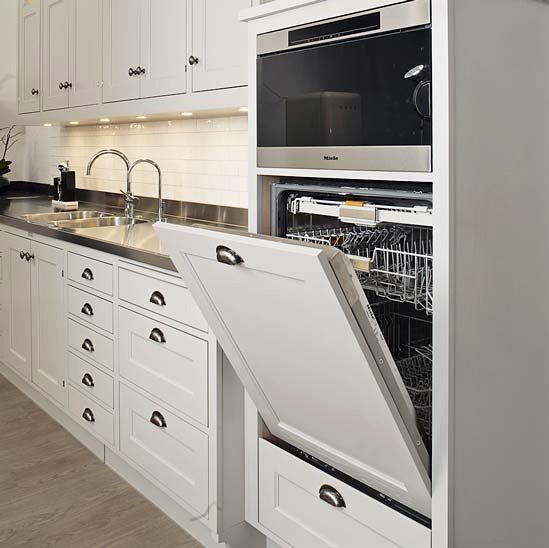 Milky white shade of the kitchen facades in Classic styled kitchen with bent taps