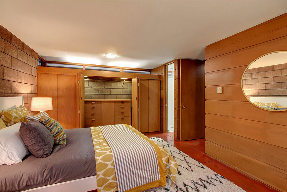 Wooden sheathed bedroom in contemporary style