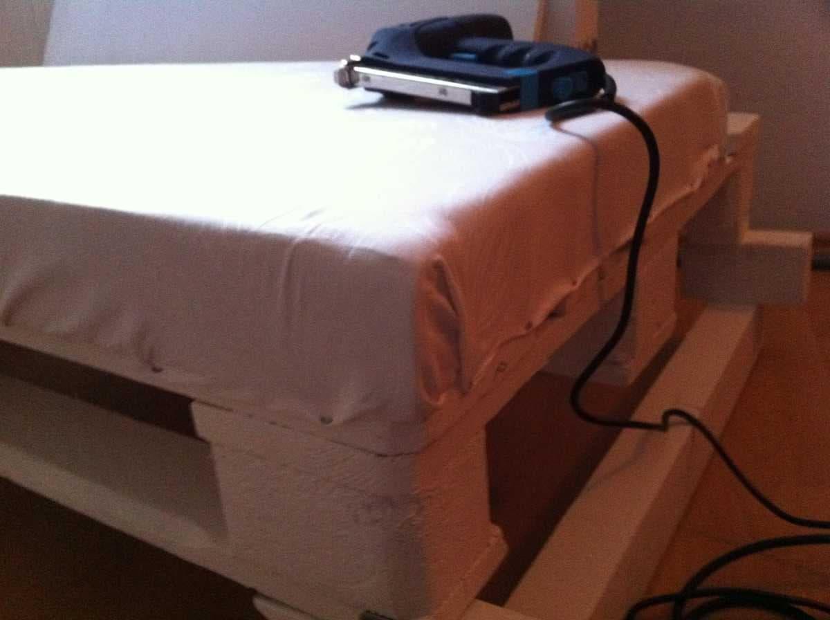 Corner sofa DIY assembling: step 12, upholstering the seat