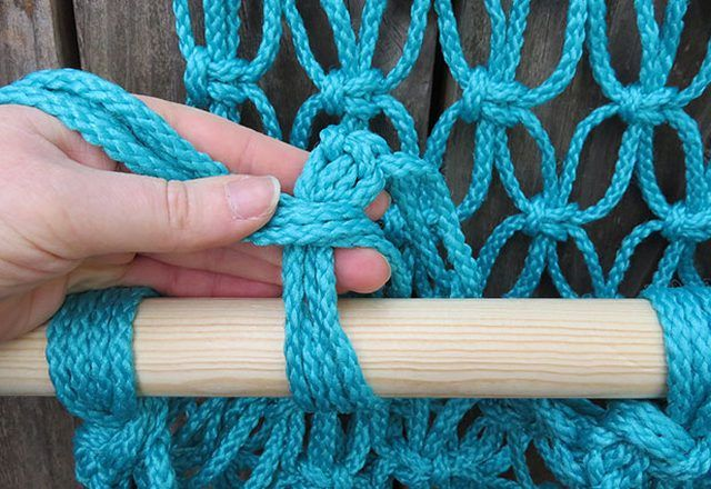 The wicker turquoise hammock
