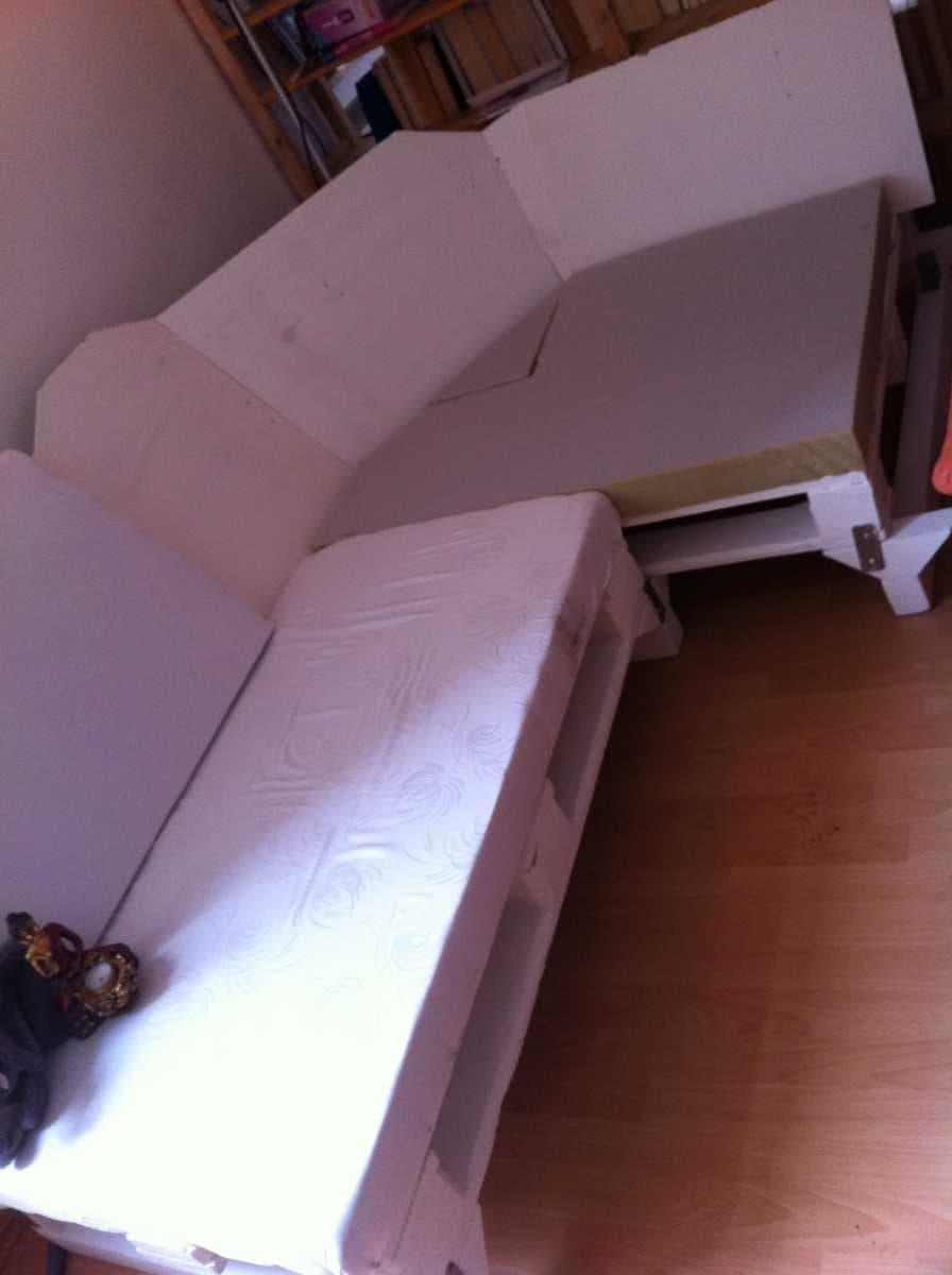 Corner sofa DIY assembling: step 16, assembling all together
