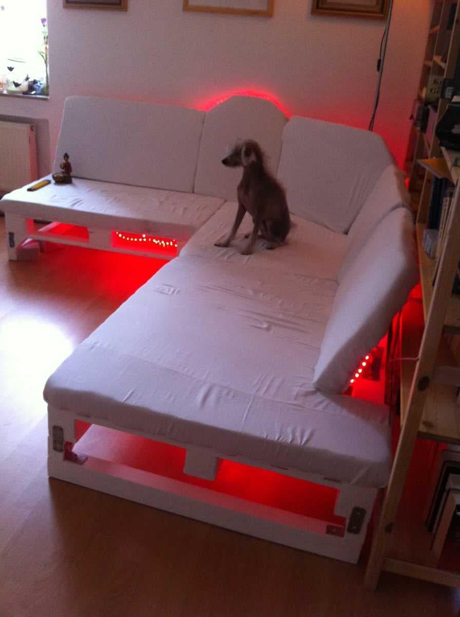 Corner sofa DIY assembling: step 17, setting the background lighting and enjoy the result