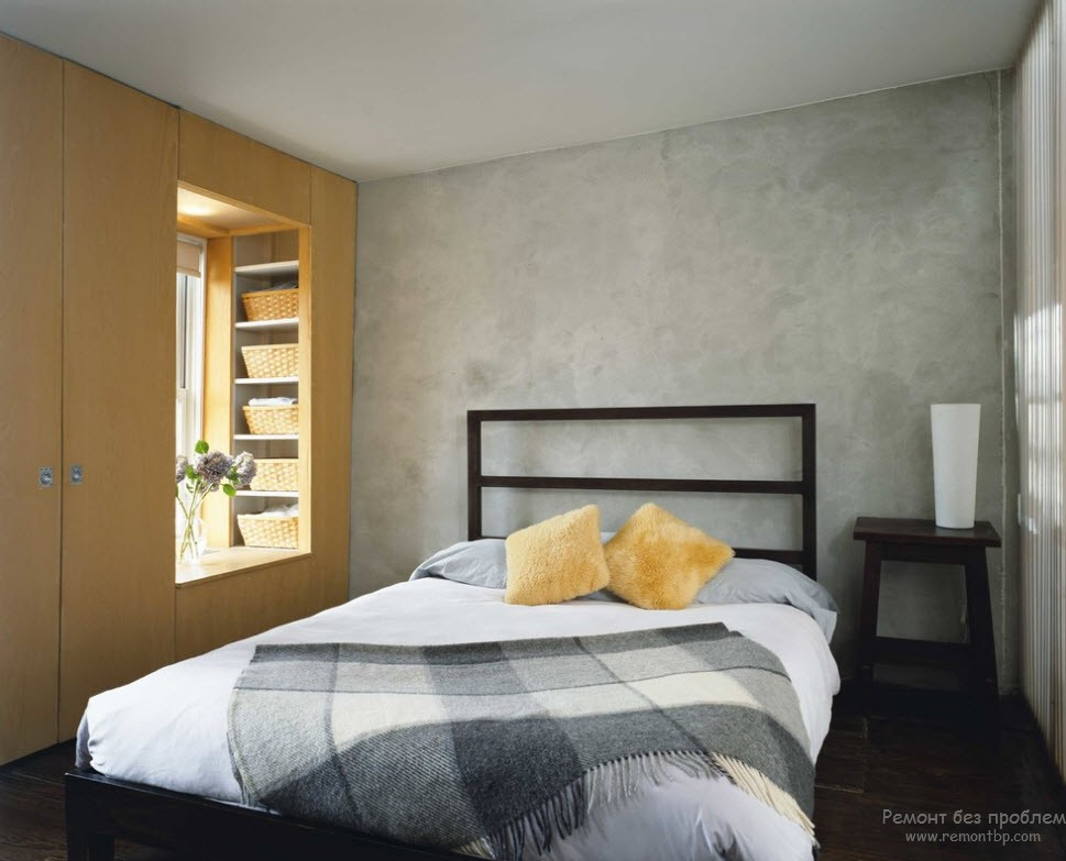 Gray designed room with wooden cabinet