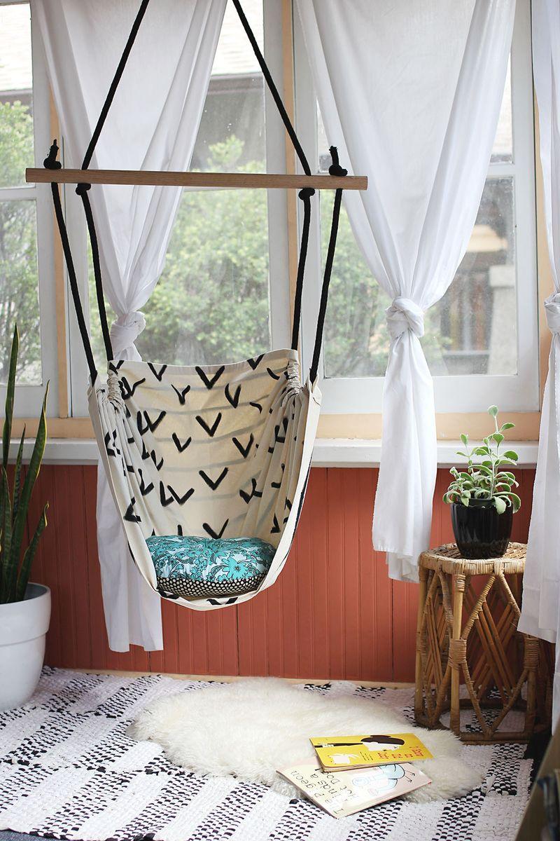 Modern interior with DIY hammock of cloth