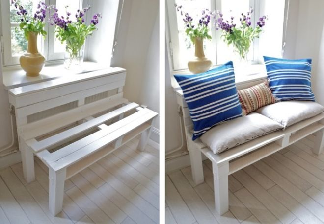 Small bench for hallway: step 6, decorating with the cushions
