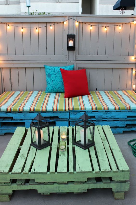 Platform for rest at the backyard made by hand