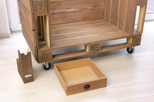 How to build sofa from pallets: small sofa, step 5 - preparing the drawers