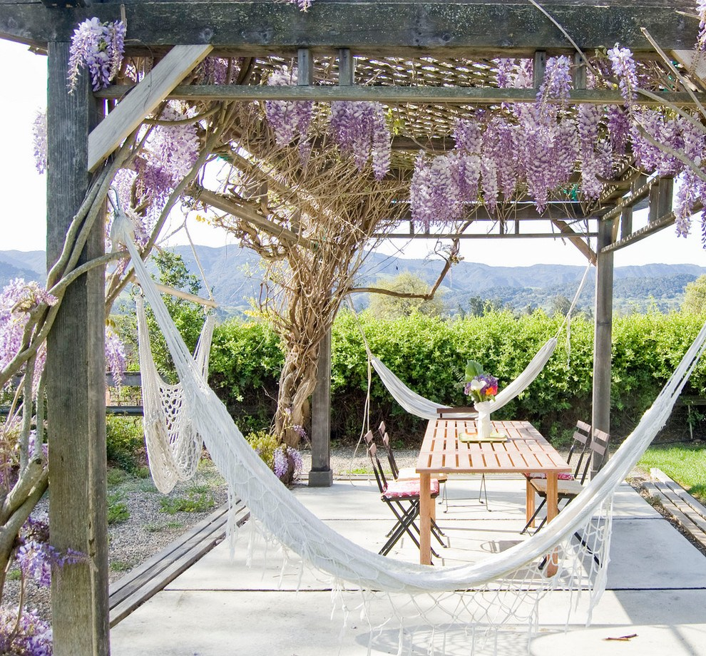 White tulle hammock at the canopy