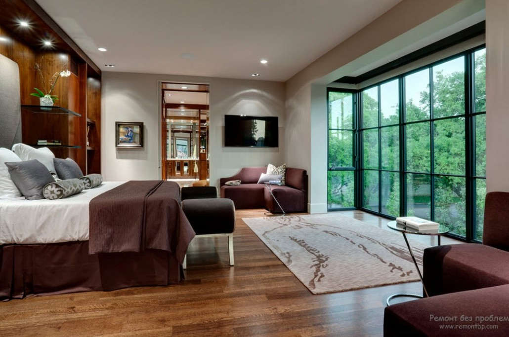 Panoramic windows for the modern designed bedroom