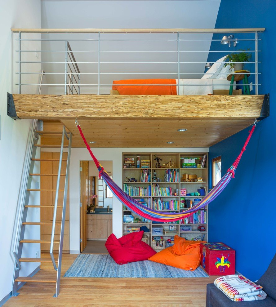 Nice interior of the functional bachelor's condo with simlpe DIY hammock