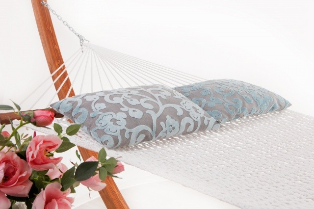 White hammock with pillows