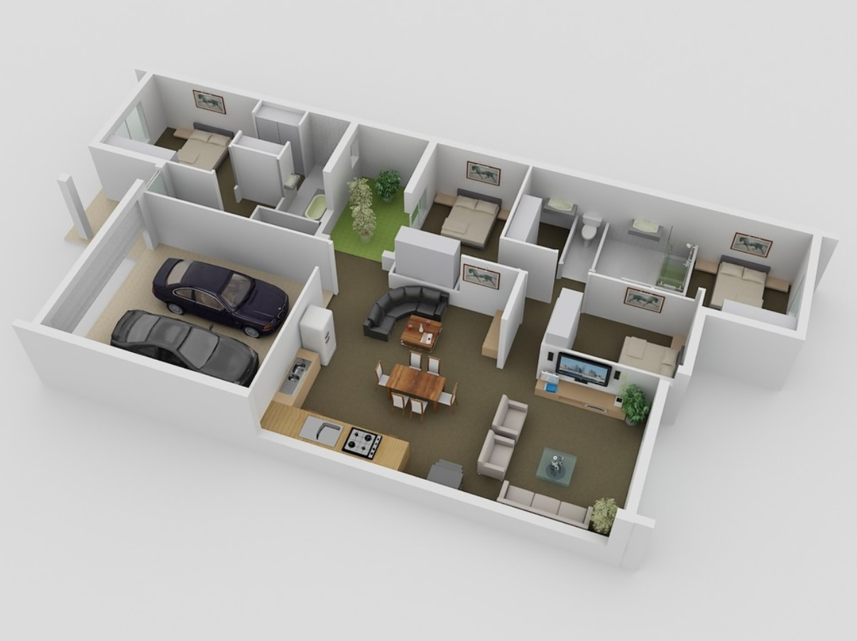 Spatial Design Principles and How to Implement them at Your Home? 3D Floor model of the house