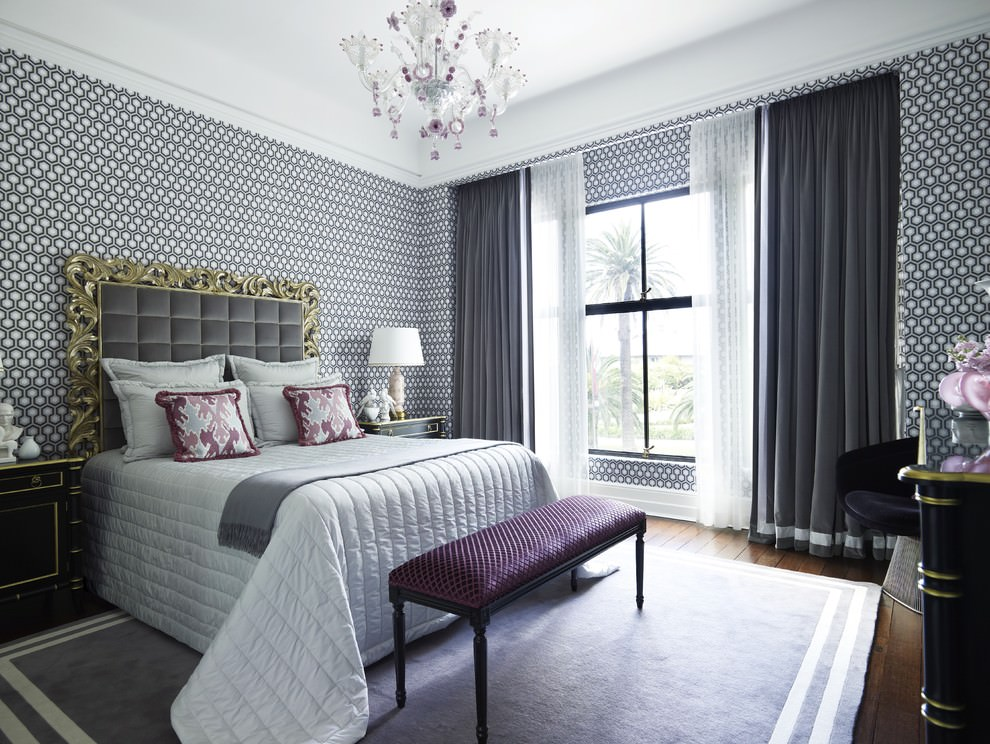 Wallpaper in the Bedroom: Modern Trends with Photos. White classic atmosphere with black and white print at the walls