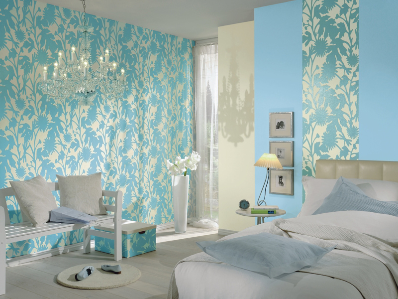 Wallpaper in the Bedroom: Modern Trends with Photos. Turquoise walls