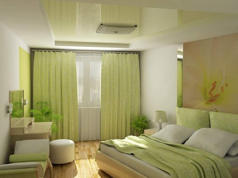 Light green sunny interior of the bedroom in modern style