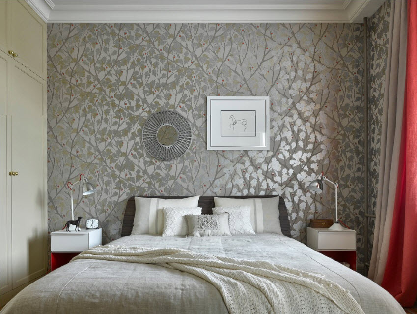 Wallpaper in the Bedroom: Modern Trends with Photos. Gray textured walls