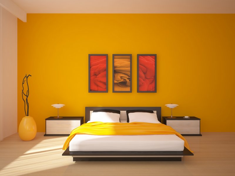 Unique yellow designed bedroom in Oriental style