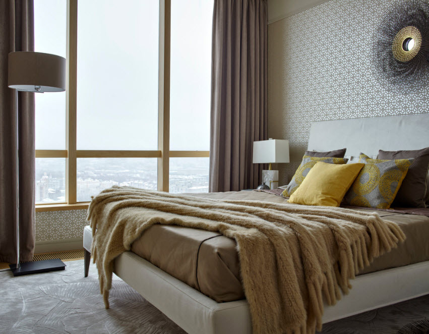 Panoramic window for modern styled bedroom with chic view from the window