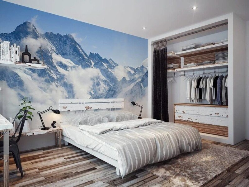 Mountains at the photo wallpaper in the contemporary styled bedroom