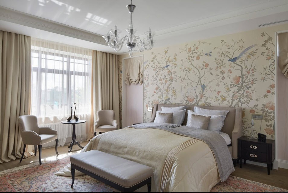 Wallpaper in the Bedroom: Modern Trends with Photos. Beige colored walls