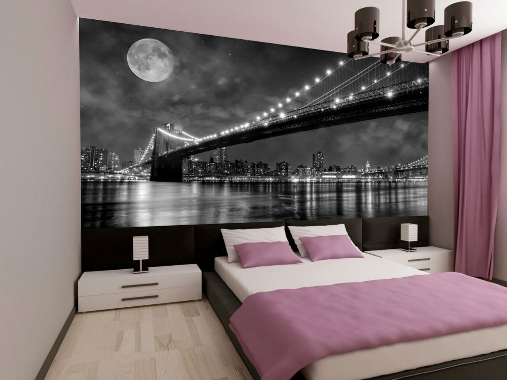 Wallpaper in the Bedroom: Modern Trends with Photos. dark photo wallpaper fo the bridge