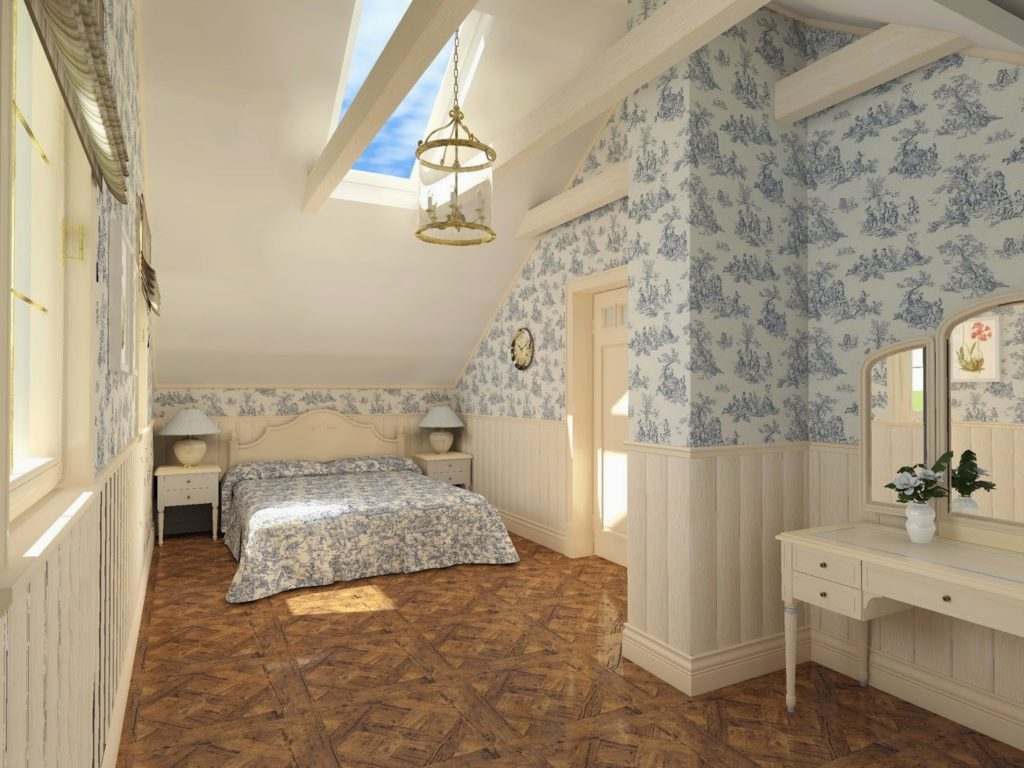 Wallpaper in the Bedroom: Modern Trends with Photos. Floral motifs for the pattern of the walls in the narrow guest bedroom