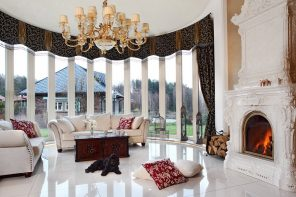 Private House Interior in Different Styles. Grandeur bay window with white color palette and dark curtains