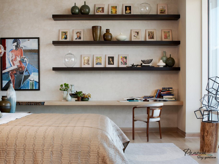 Open shelves and the modern minimalistic design of the room