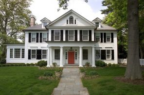 Colonial House Plans and Exteriors: Original Mix of Styles. American colonial architecture in the form of house with white facades and columns