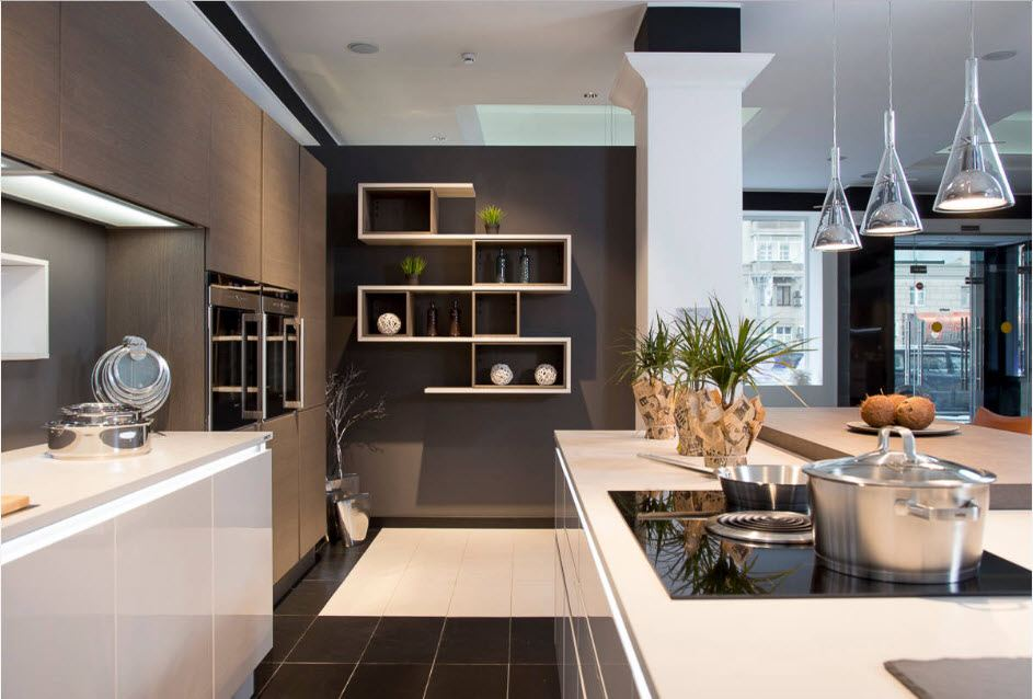 Fitted Kitchens: Impeccable Style and Functionality for any Space. Unusual open shelf on the dark gray wall in modern design with white ceiling