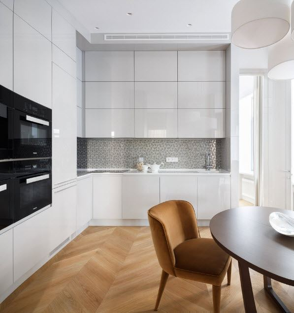 Unusual parquet floor for modern styled solid design kitchen