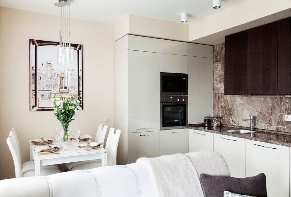 Light modern kitchen-living room with the funtional wall around the hob compartment