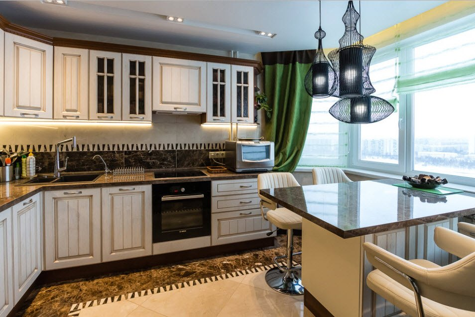Classic kitchen style with the dining area and nice glossy marble topped table