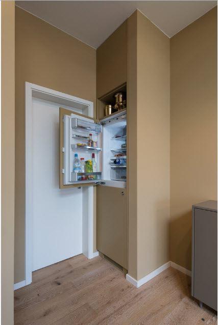 Hidden refrigerator at the small condo