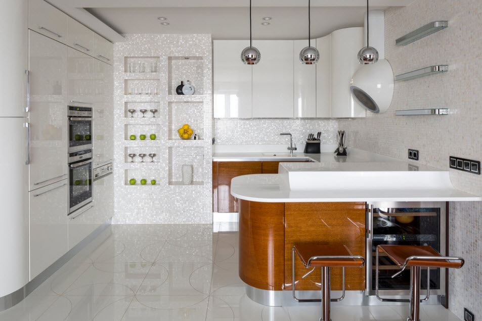 Fitted Kitchens: Impeccable Style and Functionality for any Space. Ultramodern speckless white living-kitchen with rounded wooden island