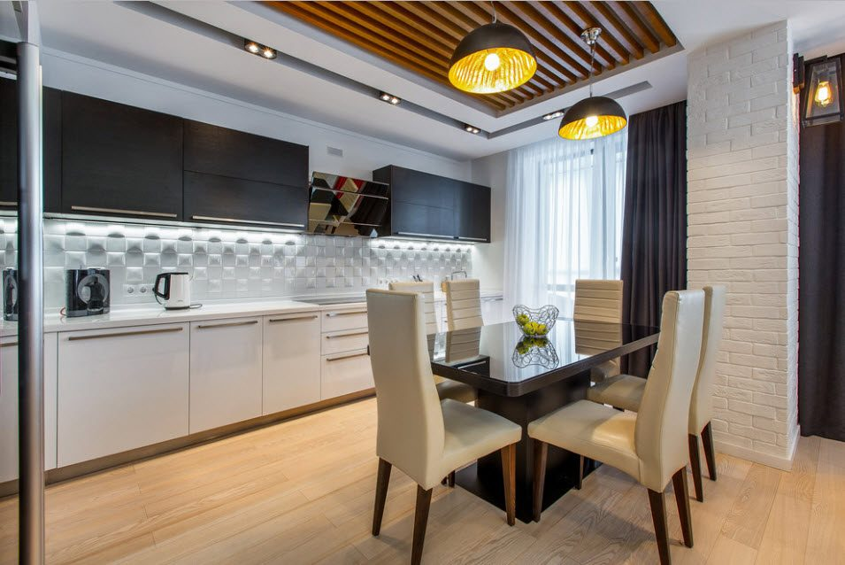 Fitted Kitchens: Impeccable Style and Functionality for any Space. Crate wooden ceiling and white color theme of the kitchen with dark gray hanging tier