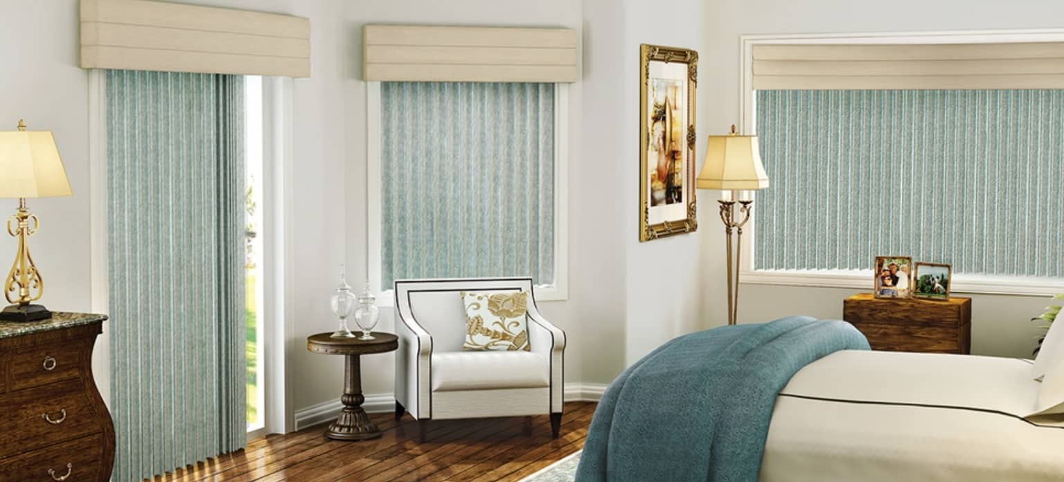 Using Vertical Blinds to Complement Interior Decor. Turquoise vinyl curtains in Classic interior