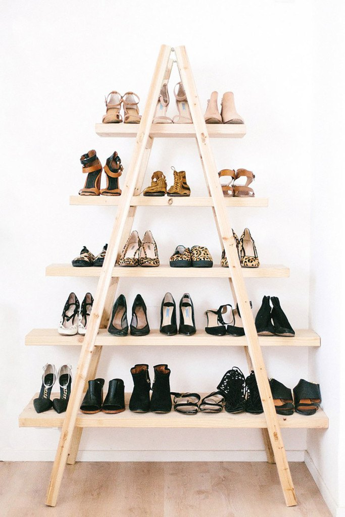 Custom Shoe Rack DIY Construction at Home. Triangle shelving for the footwear