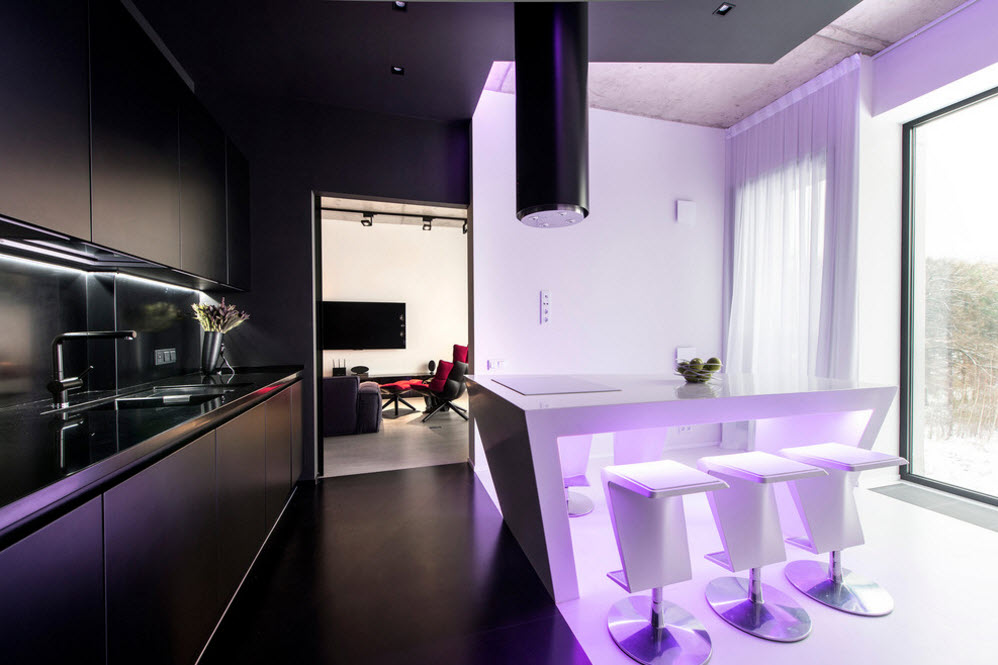 Daring Black and White Home Design Project with Neon Lighting. The passage from kitchen to the living room in dark decoration
