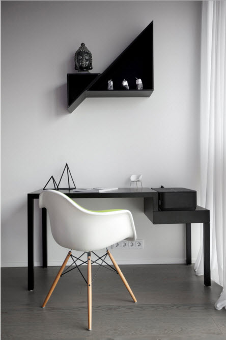 White designed hi-tech interior with black glossy floor, table and shelf