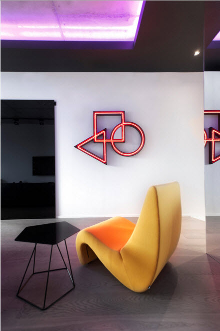 The LED-lighted installation on the wall for highlighting the accent zone